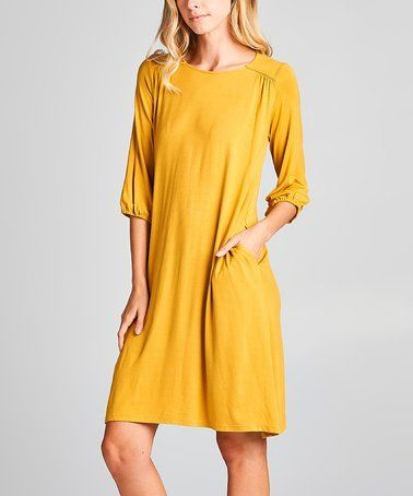 ac55f9cd633c Another great find on #zulily! Mustard Side-Pocket Shift Dress #zulilyfinds