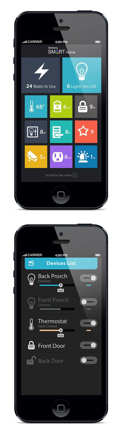 Flat Mobile UI Design and UX-50  #domotics #domotica