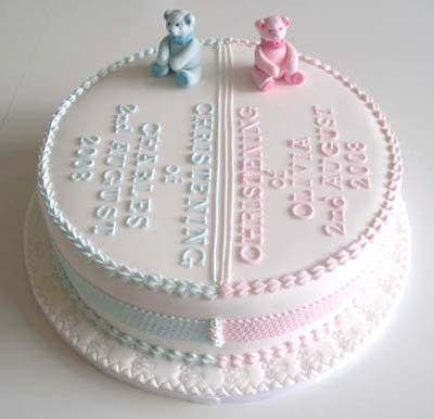 Christening Cake for twins - so cute!
