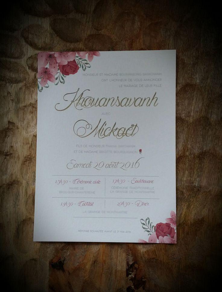 Faire-part Mariage - Floral - Créé par Dessine-moi une etoile
