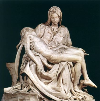 The Pietà (1498–1499) is a masterpiece of Renaissance sculpture by Michelangelo Buonarroti, housed in St. Peter's Basilica in Vatican City.This famous work of art depicts the body of Jesus on the lap of his mother Mary after the Crucifixion. The theme is of Northern origin, popular by that time in France but not yet in Italy. The statue is one of the most highly finished works by Michelangelo.