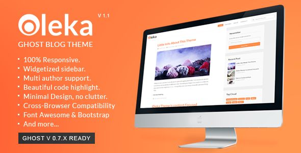 Oleka - Responsive Ghost Blog Theme #blog ghost #nodejs ghost Simply beautiful…