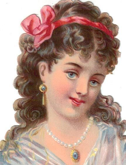 Victorian Die Cut Scrap Blue Eyed Girl w Pink Bow in Hair c1880
