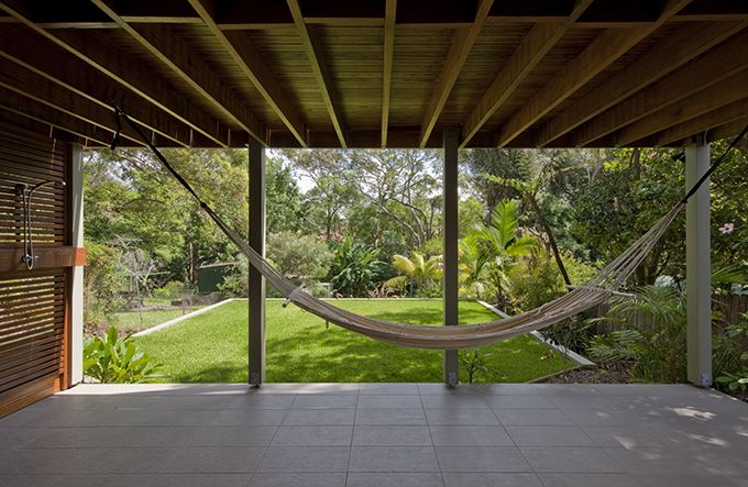 This architecturally-designed deck allows for relaxing in a hammock at Chastwood House by Bijl Architecture