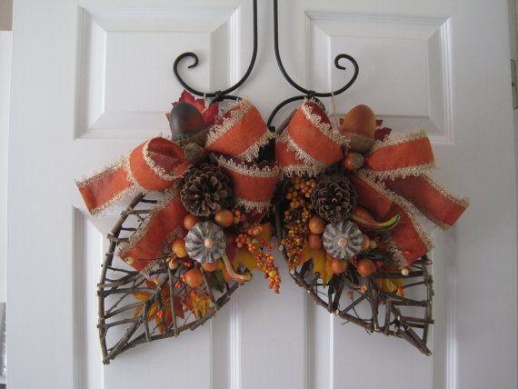 Double-Door Wreaths, Twig Leaf Door Hanger, Double-Door Swags, Fall Wreath, Fall Decoration, Front Door Wreath, Halloween Decoration