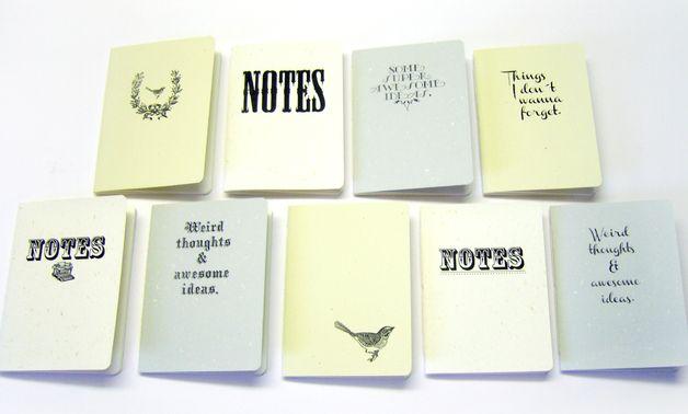 9er Set Vintage-Notizheftchen