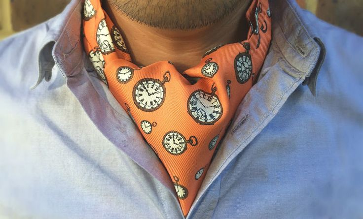 HORACE Printed Silk Cravat #cravat #ascot #tie #daycravat #silkcravat #silk #cravats #ascots #madeinengland #wedding #groom #groomswear #weddingideas #idea #grooms #style #weddingstyle #outfit #inspiration #weddingguest #guest #usher #ushers #buybritish #accessories #dapper #gentleman #cravatclub #orange #sepia #brown #pocketwatch #pocketwatches #watch #clocks #clock #orangecravat