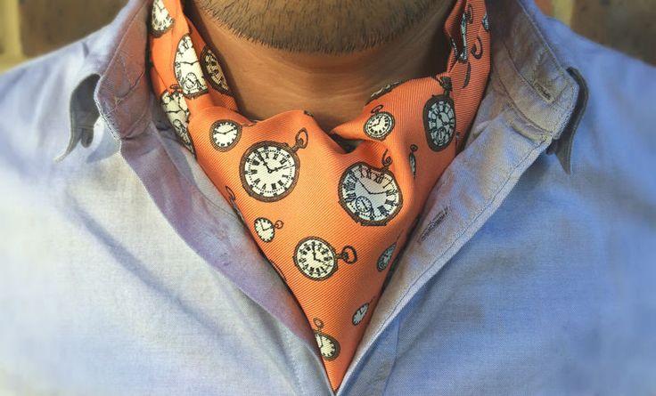 HORACE Printed Silk Cravat #cravat #ascot #tie #daycravat #silkcravat #silk #cravats #ascots #madeinengland #wedding #groom #groomswear #weddingideas #idea #grooms #style #weddingstyle #outfit #inspiration #weddingguest #guest #usher #ushers #buybritish #accessories #dapper #gentleman #cravatclub #orange #sepia #brown #pocketwatch #pocketwatches #watch #clocks #clock #orangecravat