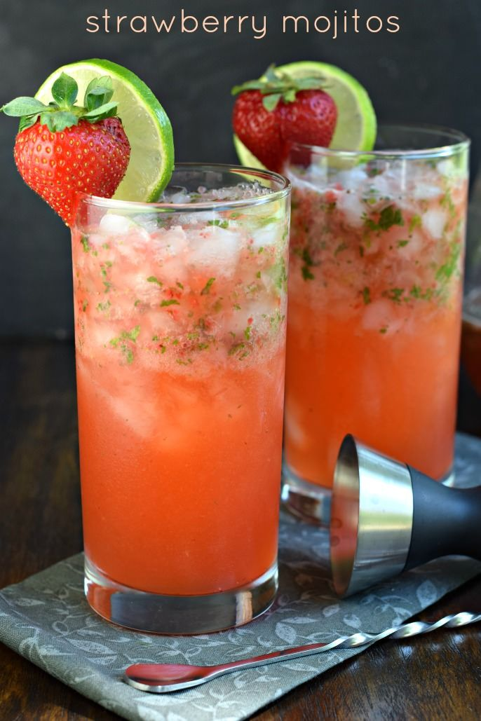 Serve up some Strawberry Mojitos at your next party and get rave reviews! Everyone will love this fruity, minty drink recipe!