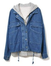 Navy Hooded Drawstring Two Pieces Denim Outerwear US$25.93