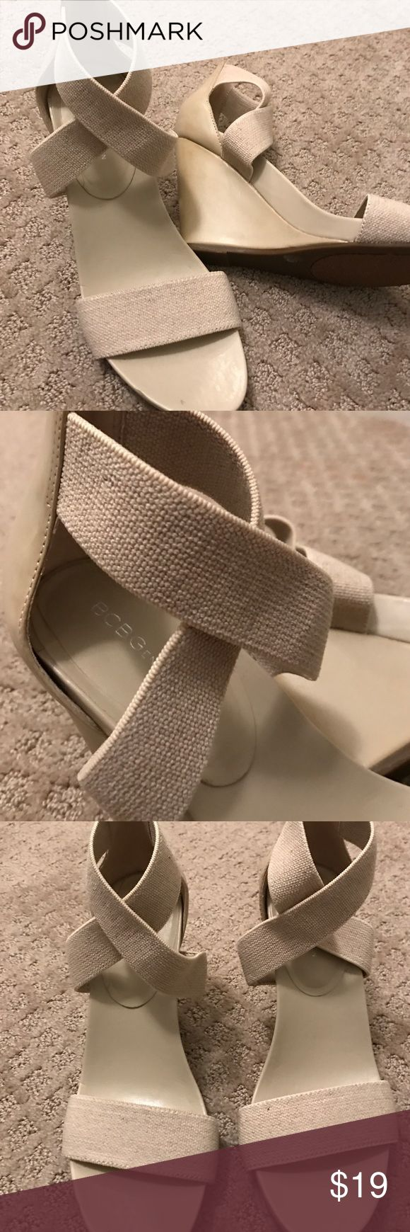 Neutral Wedge Sandals Very nice 3 1/2 inch wedge. Neutral canvas elastic straps. BCBGeneration Shoes Wedges