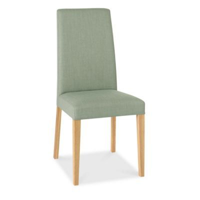 Debenhams Pair Of Duck Egg Blue Miles Tapered Back Upholstered Dining Chairs With Light