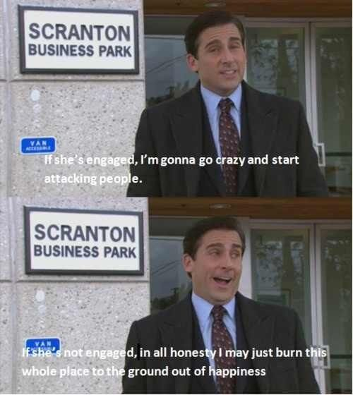 Which he almost does when HE proposes. Hehe. Thank goodness for Pam. (But you gotta love Michael Scott's enthusiasm.)
