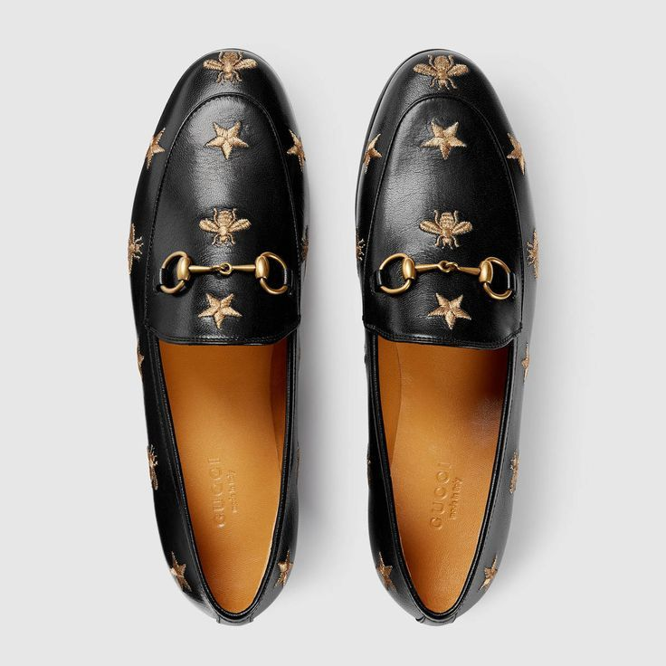 74c94261b Shop the Gucci Jordaan embroidered leather loafer by Gucci. The Gucci  Jordaan loafer is a