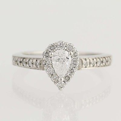 Pear Cut Halo Diamond Engagement Ring - 14k White Gold Teardrop 0.68ctw