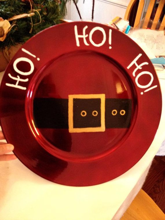 Plate. Holiday Chargers Santa Suite Made by GiftsByWhatABeautifu, $15.00