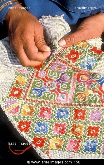 Bedouin Woman Making Traditional Embroidery, Israel
