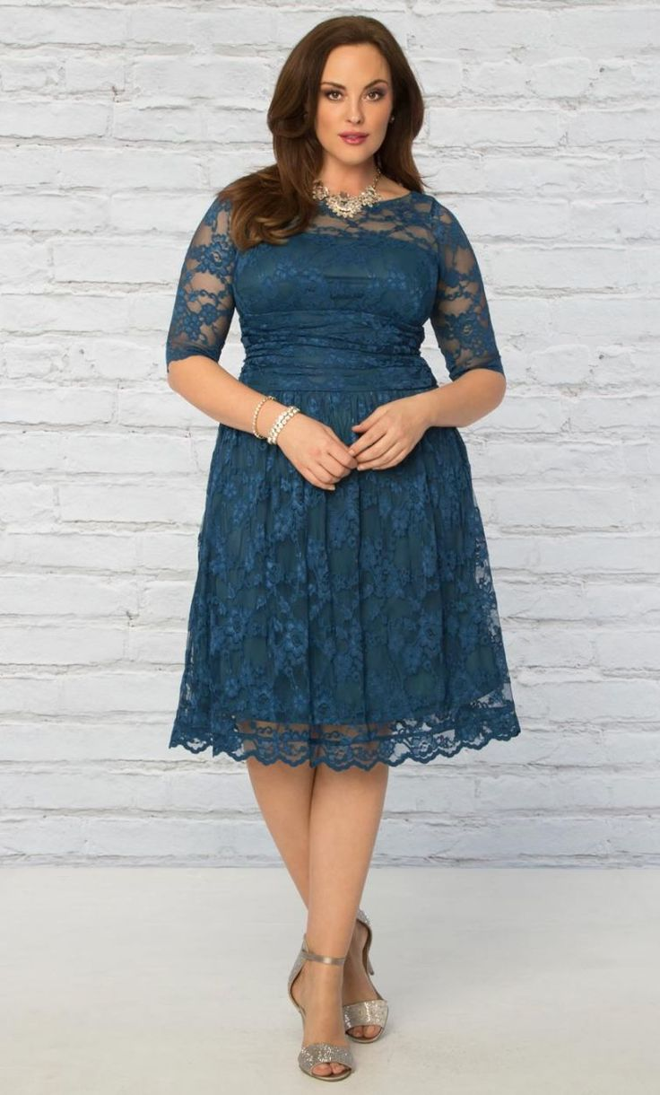 TAKE EXTRA 35% OFF ALL PLUS SIZE SALE ITEMS - CODE: SUMMER35 Plus Size Luna Lace Dress in Crazy About Blue Shop www.curvaliciousclothes.com