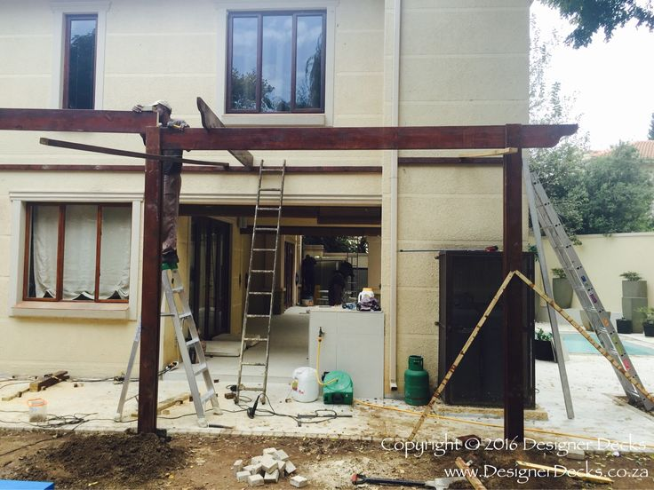 Pergola installation underway in Bryanston