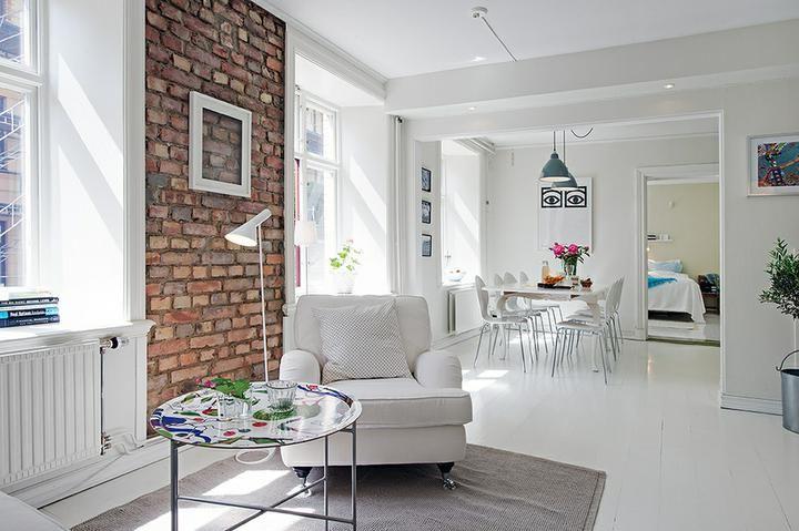 brick wall, white apartment