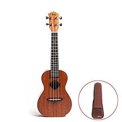HI Concert ukulele Mahogany Top Back and Side Ukulele Tattoo Square Sound Hole uke with Gig Bag
