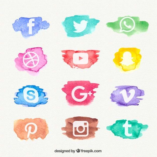 ícone Aquarela coleção rede social Vetor grátis