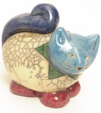 KRUGER FAT CAT БОЛЬШОЙ C32  Размер: 10,5 Х 6,5 Х 9,5 См Цена: 35 €  Céramique Д'Арт Раку CATS Divart ремесла, оптовая Раку керамика, фаянсовые. - Париж, Франция