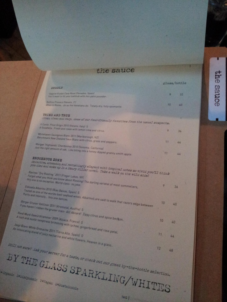 Tag restaurant menu