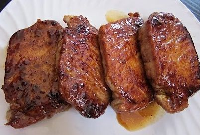 """Glazed Pork Chops Recipe- """"Good flavor but the cooking time was too long. I cooked in pan w/ oil for 3-4 min per side and it didn;t need any oven time."""" -Nicole"""