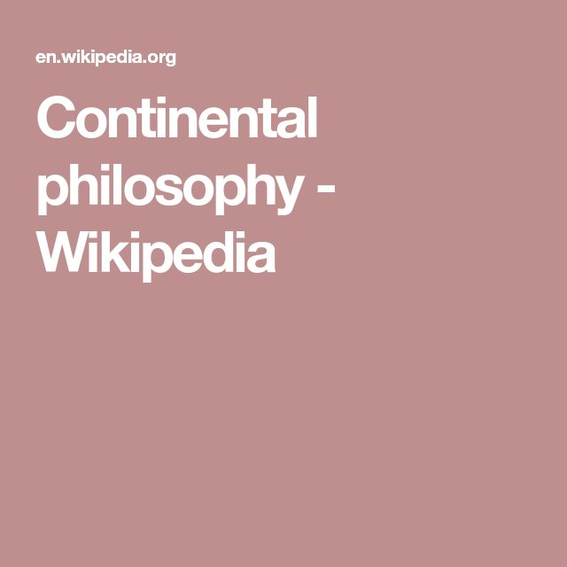 Continental philosophy - Wikipedia