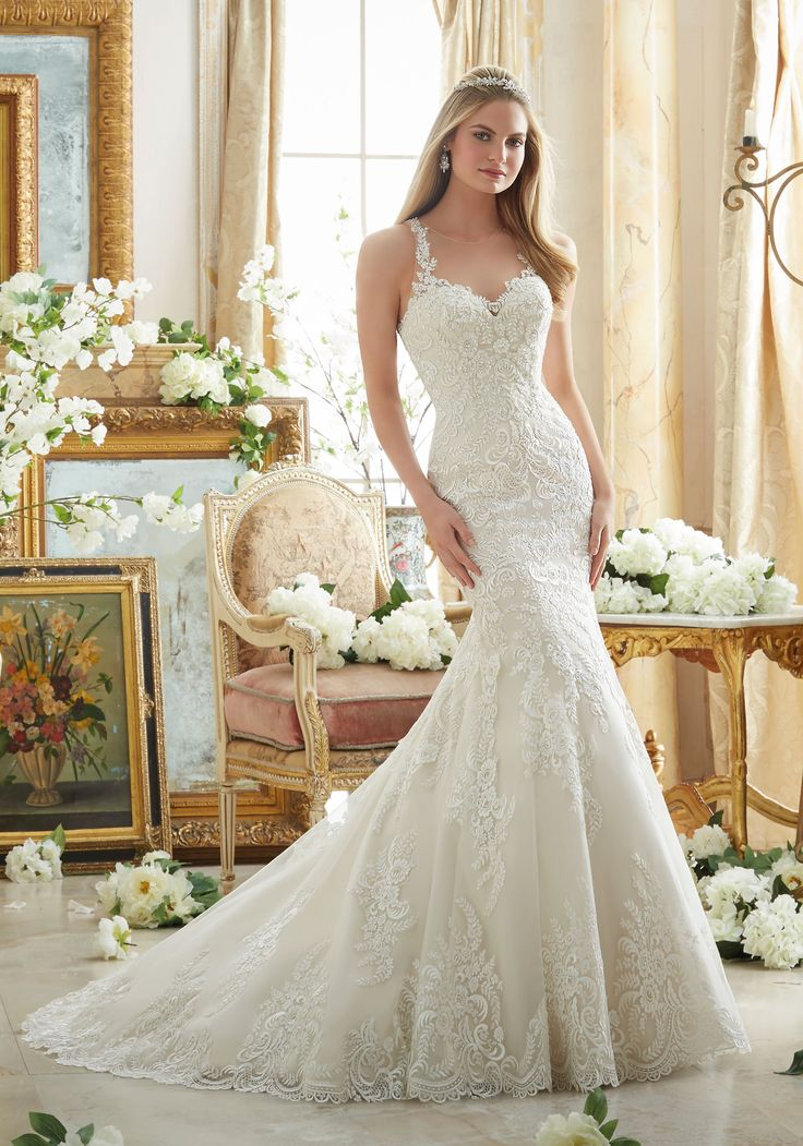 Trendy View Dress Mori Lee Bridal FALL Collection Embroidered Lace on Soft Net with Wide Hemline