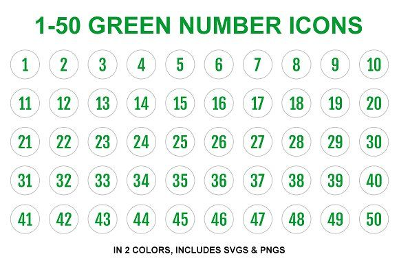 Green Single Line Number Icons 1 50 Number Icons Icon Flat Design Icons