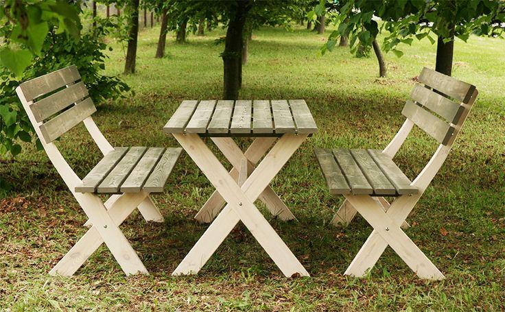 Zestaw BBKD stół, 2 ławki meble ogrodowe drewniane impregnowane, cena 499 zł