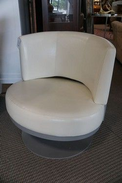 Cream Leather Swivel Chair by Collectic Home