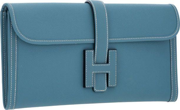 Hermes Blue Jean Epsom Leather Jige Elan H Clutch Bag | Handbags ...
