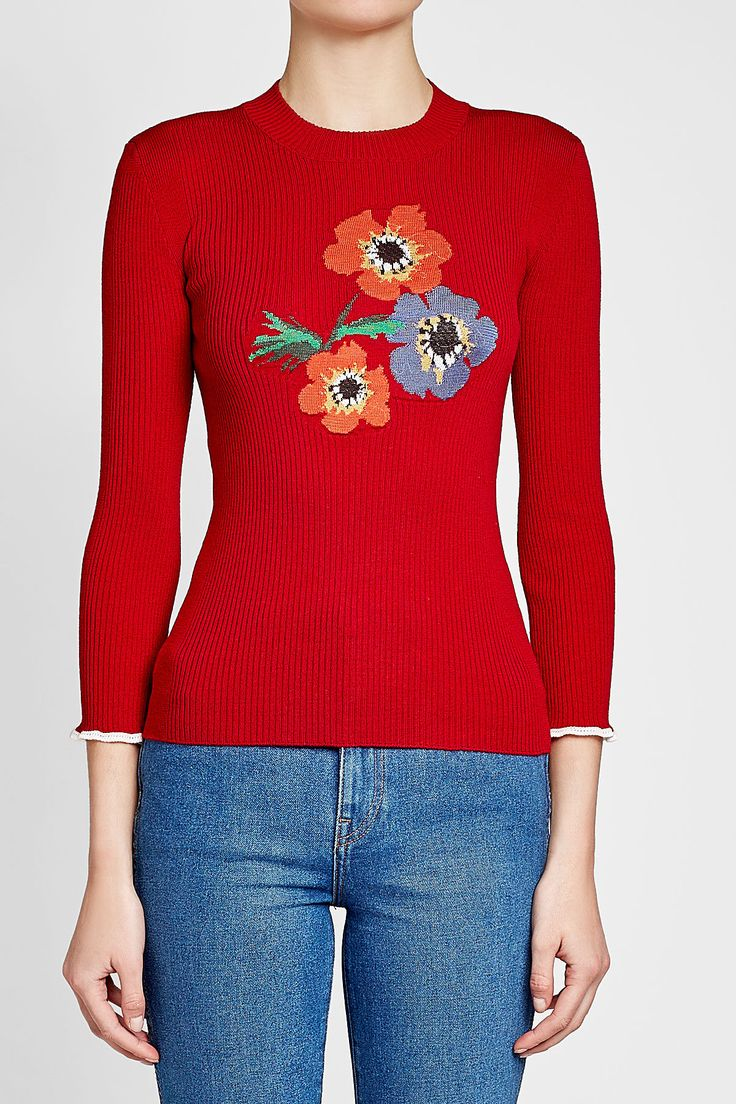 SONIA RYKIEL - Ribbed Wool Pullover with Flower Print | STYLEBOP