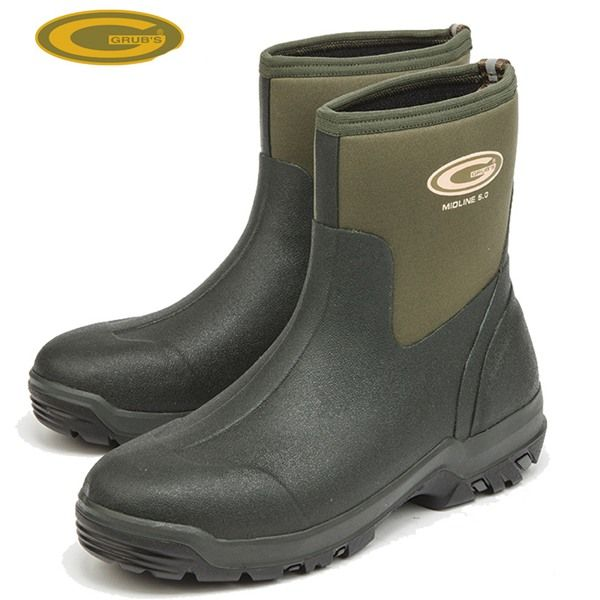 Grubs Midline 5.0 Wellington Boots in Moss Green keep the heat in and the cold out.