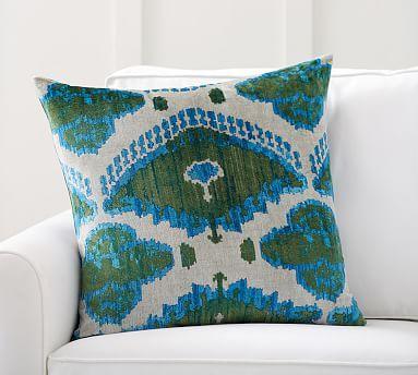 """Audrey Ikat Printed Velvet Pillow Cover, 24"""", Blue/Green Multi"""