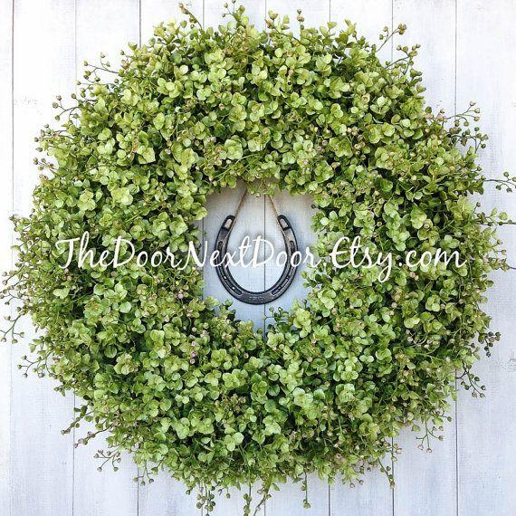 Horseshoe Wreath - Equestrian Decor - Eucalyptus Wreath - Horse Wreath - Front Door Wreath