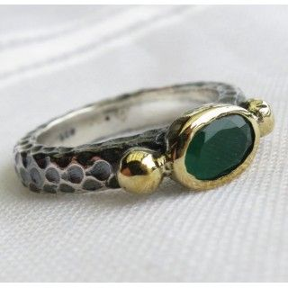emerald turkish vintage style ring 925 sterling
