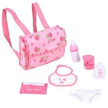 FAO Schwarz Diaper Bag Set for 14-inch FAO Dolls. Diaper bag set lets you take care of your doll anytime, anywhere. Bag features an attached, roll-out changing pad. Compatible with 14-inch FAO dolls. Includes: Diaper bag, bottle, baby food, bib, cloth diaper, wipes box with 4 cloth wipes and baby powder.