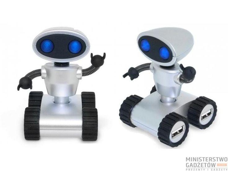 Rozgałęziacz USB w postaci uroczego robota.