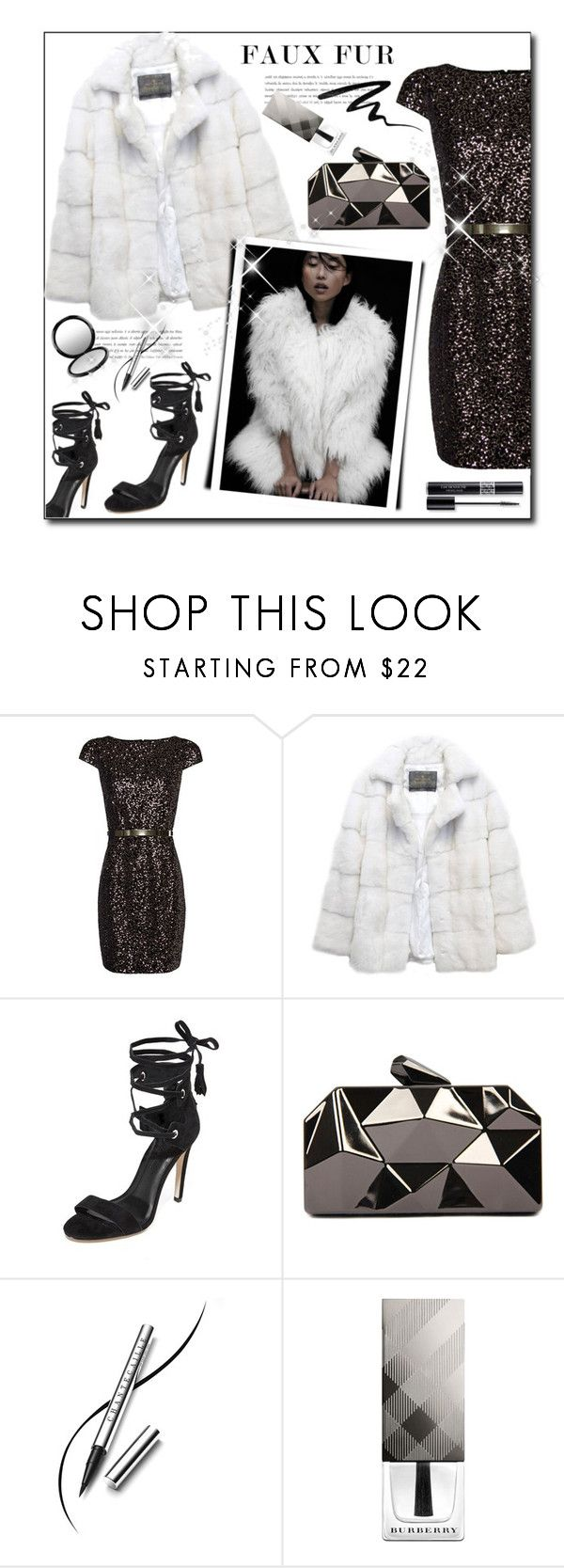 """Faux Fur coats"" by court8434 ❤ liked on Polyvore featuring MANGO, Lilly e Violetta, Rebecca Minkoff, WithChic, Smashbox, Chantecaille, Burberry, Christian Dior, MAC Cosmetics and MyStyle"