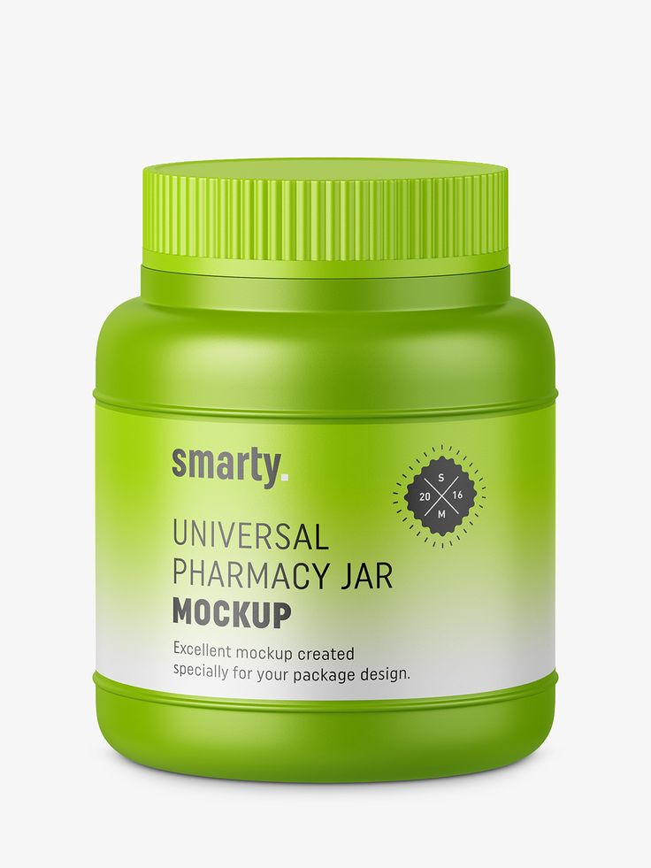 Plastic pharmacy jar mockup