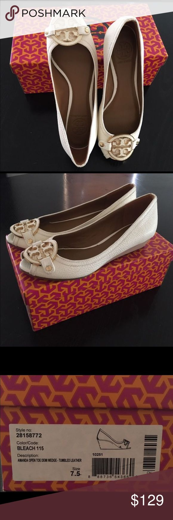 Amanda open toe mid wedge Tory Burch REDUCED **Tory burch open toe mid wedge all leather bleach color. Wedge height is 3 cm. Tory Burch Shoes Wedges
