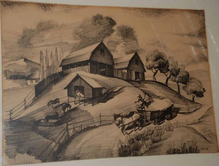 Barns/Haywagon California Lithograph by Henry Hesse #Impressionism