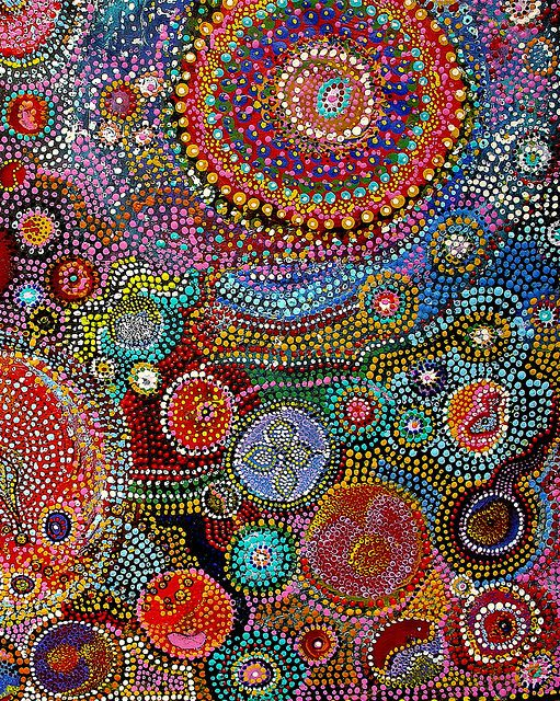 Aus. Aboriginal art. I met a woman from Australia who had brought some of these artworks with her, she knew one of the artists really well and showed me some of the pieces she owned... really impressive in person! Each of the dots is a small bump of paint, and the ones I saw were 1/4 inch or larger. The pieces are huge!
