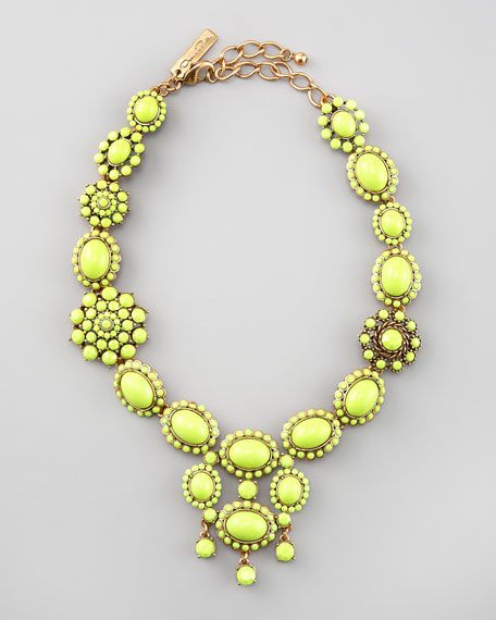 The chartreuse cabochons of this Oscar de la Renta necklace will electrify your look.