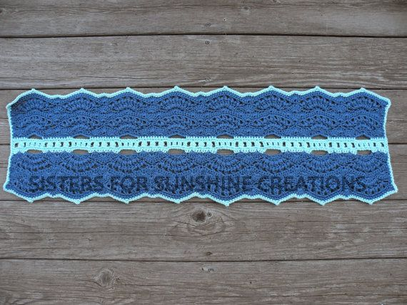 Blue Crochet Table Runner - decorate your table, dresser, or even your piano! Handmade by Sisters for Sunshine Creations