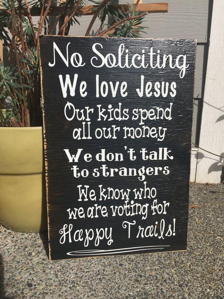 """This beautiful """"no soliciting"""" sign will sure be a conversation piece in your home! These are hand painted, lightly sanded and made from new wood right here in the heartland of America, then the wordi"""